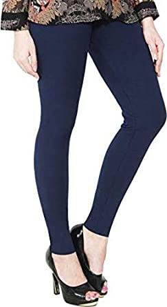 LUX LYRA Women's Cotton Stretchable Ankle Length Leggings (Navy Blue,...