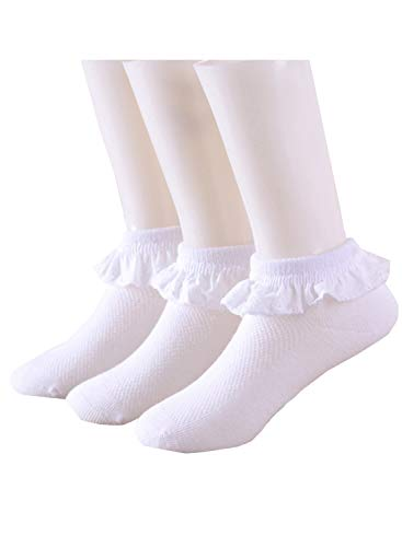 Princess Lace Ruffle Cotton Socks White Newborn/Infant/Toddler/Little Girls(0m-10y)