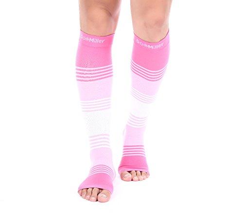 Doc Miller Premium Open Toe Compression Sleeve Dress Series 1 Pair 20-30mmHg Strong Support Graduated Sock Pressure Sports Running Recovery Shin Splints Varicose Veins (PinkPinkWhite, Medium)