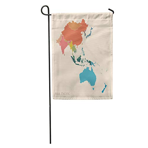 Semtomn Garden Flag Blue East Map of Asia Pacific Vintage Color South Australia Home Yard House Decor Barnner Outdoor Stand 12x18 Inches Flag