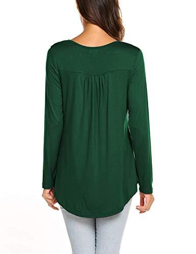 WANGZHI Women's Casual Shirts Long Sleeve Button up Henley T-Shirt Tunic Tops Blouses (L, 01-Dark Green) by WANGZHI (Image #3)