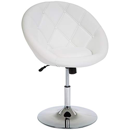 JC Home Pompei Adjustable-Height Round-Back Button-Tufted Swivel Accent Chair, Pure White