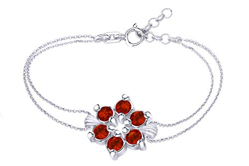 - AFFY Round Shape Simulated Garnet Flower Chain Bracelets in 14k White Gold Over Sterling Silver -7.5