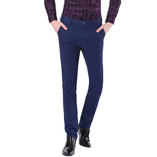 Pantalones Chinos De Los Hombres Pantalones Ajustados De Algodón Elástico Pierna Recta Clásico Color Sólido Transpirable Suave Pantalones Vaqueros De Estiramiento Rectos Elegantes Pantalones es Chicos Azul Oscuro