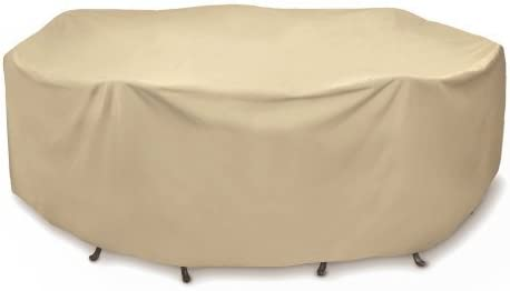 Two Dogs Designs 2D-PF108005 Round Table Set Cover, 108-Inch, Khaki, By Two Dogs Design with Level 4 UV Protection