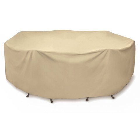 (Two Dogs Designs 2D-PF108005 Round Table Set Cover, 108-Inch, Khaki, By Two Dogs Design with Level 4 UV Protection)