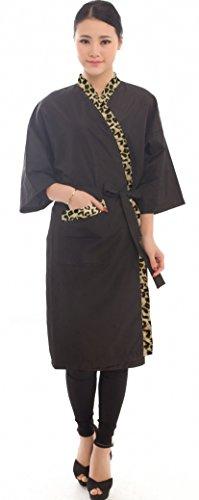 Salon Client Gown Robes Cape, Hair Salon Smock for Clients- Kimono Style (Black with Leopard Trim)