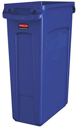 Rubbermaid Commercial Products Slim Jim Plastic Rectangular Trash/Garbage Can with Venting Channels, 23 Gallon, Blue (1956185) 23 Gallon Rectangular Waste Containers