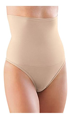 "Glamorise High-Waist Smoothing Thong Panty (9XL for 48-waist, ""Cafe"" Beige)"
