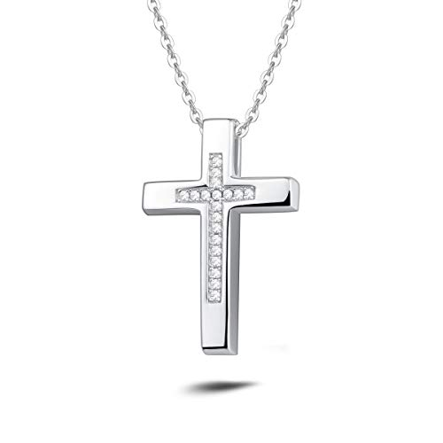 - Carleen White Gold Plated 925 Sterling Silver CZ Cubic Zirconia Crucifix Pendant Necklace For Women Girls