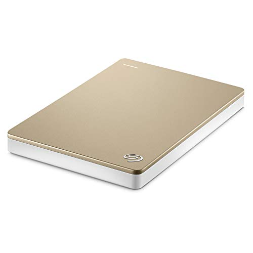 Seagate Backup Plus Portable Drive 1 Terabyte (1TB) SuperSpeed USB 3.0 2.5 External Hard Drive (Gold/White) (Renewed)