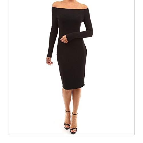Longues Color lgante Size BBethun Collier paule Couleur Femmes Hors Unie Black Mince Jupe Un Red Sexy M Manches des Mot Robe de xTwpx