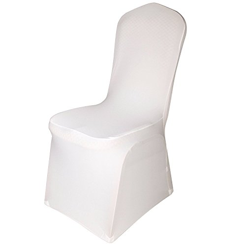 EMART Set of 12pcs Ivory Color Polyester Spandex Banquet Wedding Party Chair Covers (Room Chair Dining Folding)