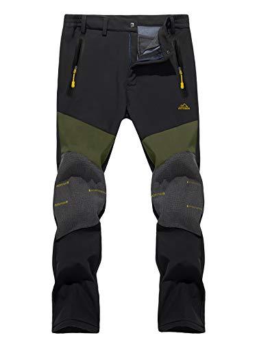 TACVASEN Men's Fleece Lined Pants Ski Snowboard Hiking Mountain Reinforced Knees Softshell Pants