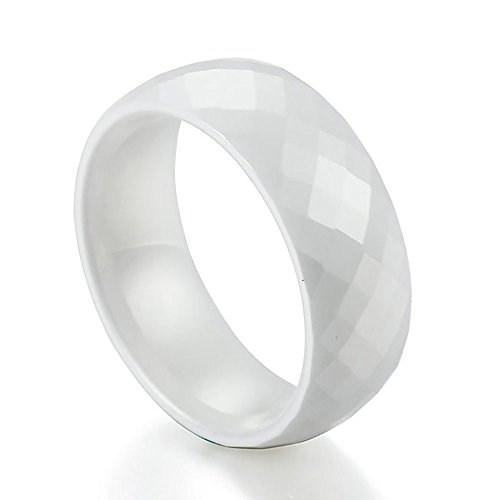 Caperci 8mm Men's Marvelous Domed Multi Faceted White Ceramic Wedding Band Ring Comfort Fit Size 9