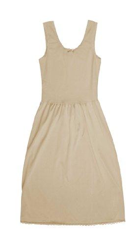 TruFit Sleeveless Full Length Slip for Women - 100% Cotton - Elegant Lace Trim,38-24 Length,Beige