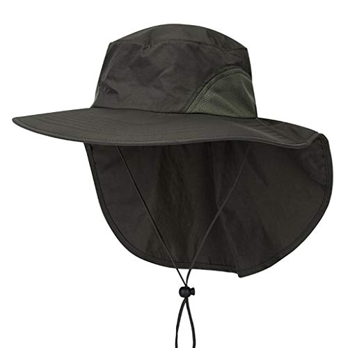 Hats Cap Unisex Wide Brim Sun Hat with Neck Flap Fishing Safari Cap for Outdoor Hiking Army ()
