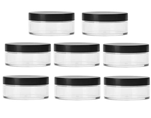 Bekith 8 Pack 50G Plastic Empty Powder Puff Case 50ml Makeup Case Travel Kit Makeup Cosmetic Jars Containers With Sifter and ()
