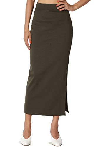 TheMogan Women's Side Slit Ponte Knit High Waist Mid-Calf Pencil Skirt Olive ()