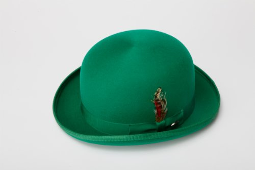 [New Mens 100% Wool Kelly Green Derby Bowler Hat] (40s Mobster Costumes)