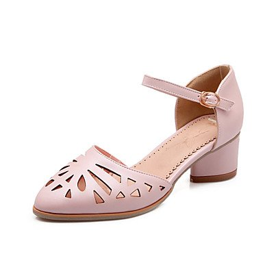 Dress EU35 US5 UK3 Heels Toe Women'S CN34 White Pink amp;Amp; Round Blue Chunky Heel Career Office Zormey Shoes Heels SHxaqwP