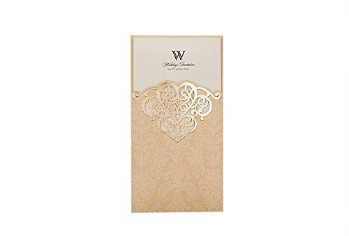 Wishmade 50 Count Vintage Pockets Invitations Cards Set Kits Gold for Wedding Birthday Bridal Shower with Printable Tri Fold Paper
