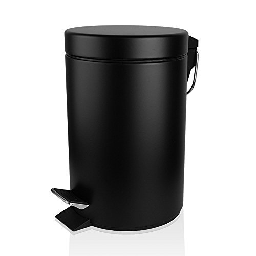 Fortune Candy Small Round Step Trash Can with Lid Soft Close Feature,Fingerprint-Proof Carbon Steel Trash Can with Removable Inner Wastebasket for Bathroom Bedroom Office,1.3 Gal/5L (Black) ()