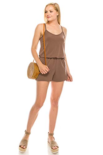 URBAN K Women's Plus and Regular Size Solid Racer Back Rompers with Pockets