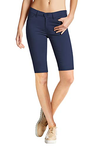 HyBrid & Company Womens Perfectly Shaping Hyper Stretch Bermuda Shorts B44876 Navy S