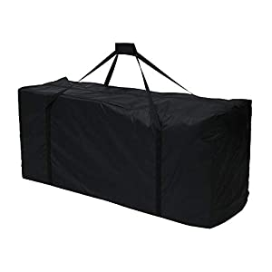 Maalr Bolsas de almacenamiento para exteriores, bolsa de jardín grande para cojín de viaje, funda ligera con cremallera, bolsa de jardín con asas impermeables, 210D Oxford, negro (122 x 39 x 55 cm)