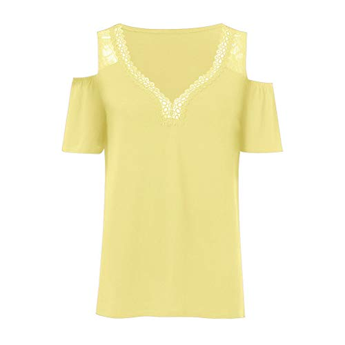 - LEXUPA Women's Summer Fashion V-Collar Short Sleeve Leaky Shoulder Plus Size Top Blouse(Yellow,XX-Large)