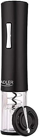 Adler AD 4490 Sacacorchos Eléctrico Profesional, Abre Botellas con Cortador de Cápsulas, Abridor de Vino Automático, sin Cable, Iluminación LED, Negro, plástico
