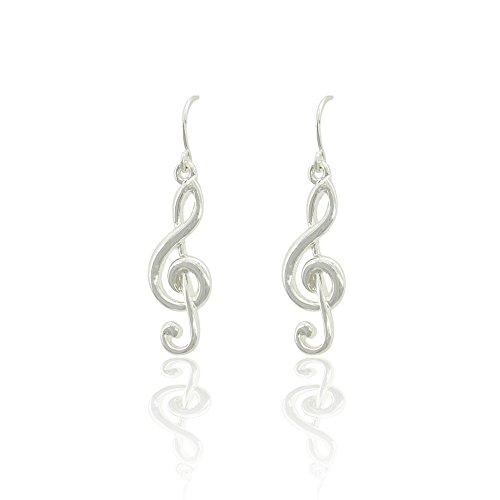 - Silver Treble Clef Drop Earrings