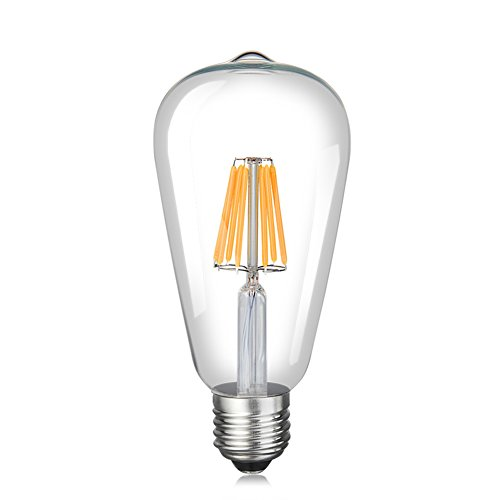 YCDC Edison Bulb LED Light, 800 Lumens Dimmable E26 Screw ST64 110V Squirrel Cage LED Filament Lights, Clear Glass Antique Lamp, Ultra Stable Droplights, Warm White, 8W=75W, 1Pc