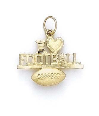 Inscription I Heart Football 14 Carats Pendentif JewelryWeb