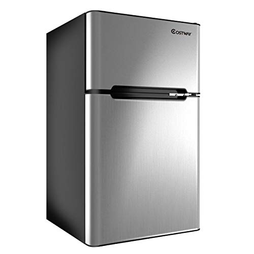 COSTWAY Costway 2-Door Compact Refrigerator 3.2 cu ft. Unit Small Freezer Cooler Fridge ( image