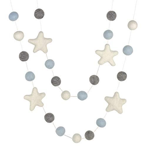 "Felt Ball and Star Garland- Ice Blue, Gray, White- 1"" (2.5 cm) Wool Felt Balls"