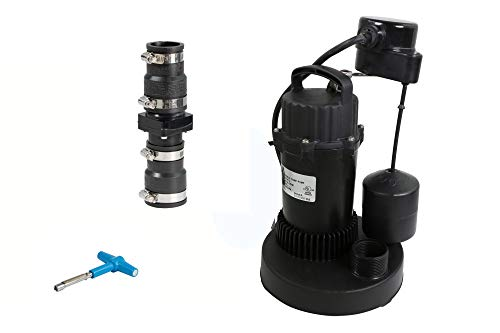 Everflow SPKT-140 Heavy Duty Submersible 1/3 HP Sump Pump Kit with Float Switch, Check Valve, and Torque Wrench, Black, 4 Piece