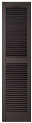 Builders Edge 010140060002 Pair Of 15 x 60-Inch Black Louvered Shutters - Quantity 5