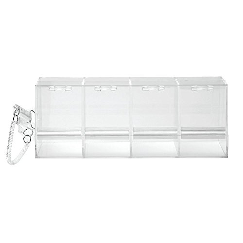 Bulk Food Bins Clear Acrylic 4 Section Bins With Scoop - 24''L x 9''W x 9''H by Hubert