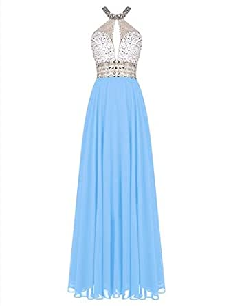 Women's Crystal Beads Haltneck Long Prom Dress Evening Party Gown Blue US 4