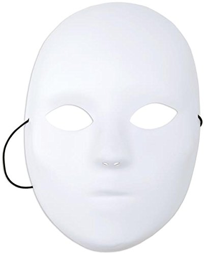 White Mask Halloween (Mask It 71001 Full Female Mask, 8-1/2-Inch, White)