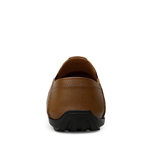 Ufficio Uomo Mocassini on Loafers Pelle da Slip Semplice Cachi Scarpe Guida wf050qC