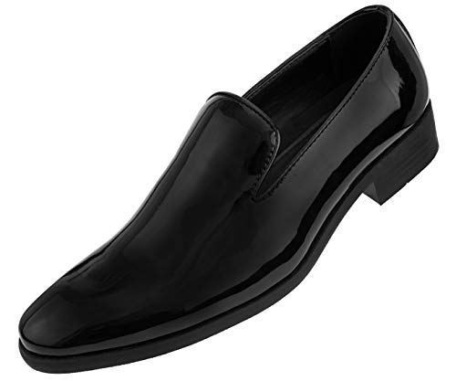 igh Shine Faux Leather Slip On Tuxedo Dress Shoe, Style Degas Black ()