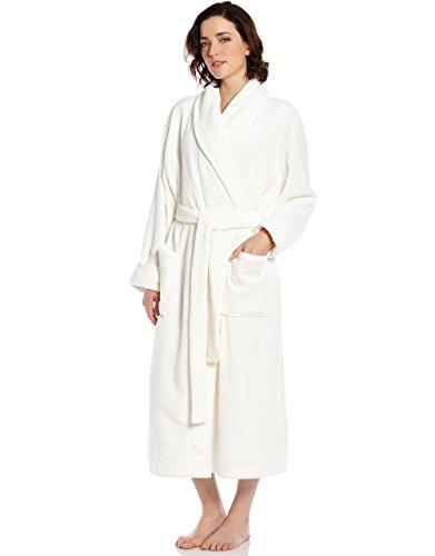 (Leveret Womens Fleece Robe Ivory Size White Large/X-Large)