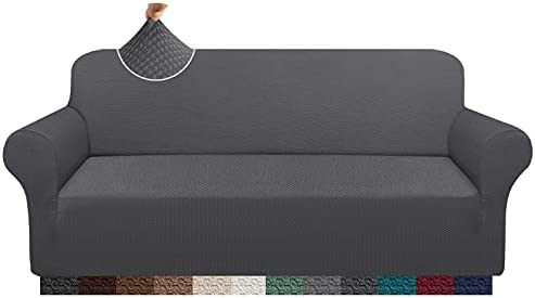 Cherrypark Super Thick Sofa Covers for 3 Cushion Couch Stretch Fit Couch Cover Unique Pattern Sofa Slipcover for Living Room Non-Slip Furniture Protector (Large, Grey)
