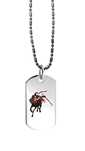 Hat Shark Centaur Dark Knight Gallop Running with Sword and Shield - 3D Color Printed Military Dog Tag, Luggage Tag Pendant Metal Chain -