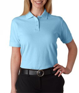 UltraClub Ladies' Classic Pique Cotton Polo, Baby Blue, -