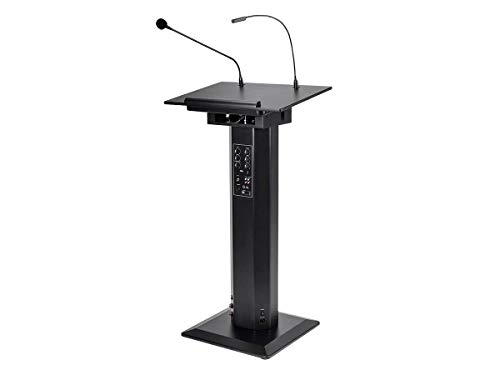 Monoprice Commercial Audio 60W Powered Lectern with Gooseneck Microphone and LED Light (No Logo)