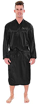 Personalized Women's Men's Satin Kimono Solid Color Robes Bathrobe